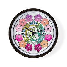 Chrome Circle with Colorful Plumeria Fl Wall Clock