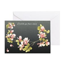 Welsh Thank you card with pretty pink Magnolia