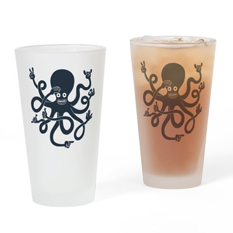 Handy Octopus Drinking Glass