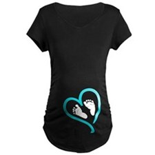 Baby Feet Heart Blue Maternity T-Shirt