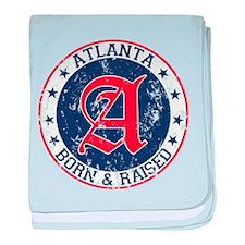 Atlanta born raised blue baby blanket