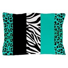 Teal Blue Animal Print Stripes Zebra Leopard Pillo