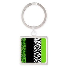 Lime Green Animal Print Stripes Zebra Leopard Keyc