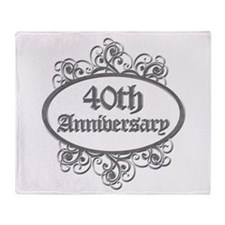 40th Wedding Aniversary (Engraved) Throw Blanket