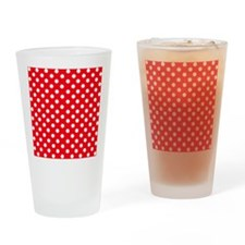Red and white polka dot pattern Drinking Glass