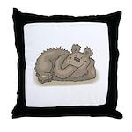 Silly Little Sleeping Bear Throw Pillow