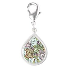 Vintage Map of Europe Silver Teardrop Charm