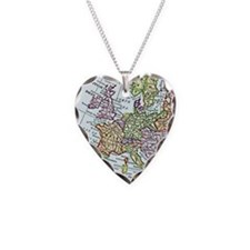 Vintage Map of Europe Necklace Heart Charm