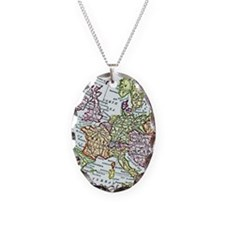 Vintage Map of Europe Necklace Oval Charm