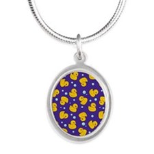 Purple rubber ducky pattern Silver Oval Necklace