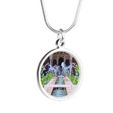 Alhambra water fountain Silver Round Necklace