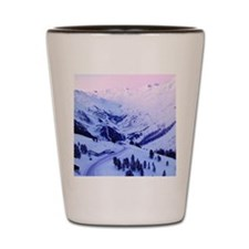Snowy sunset over mountains Shot Glass