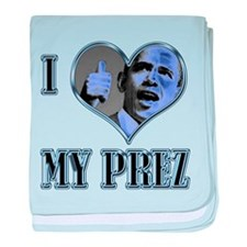 I Heart My Prez Blue .png baby blanket