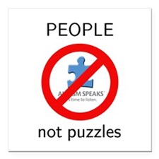 "PEOPLE not puzzles Square Car Magnet 3"" x 3&q"