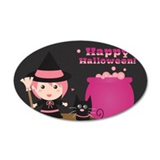 Cute Witch and Black Cat, Ha Wall Decal
