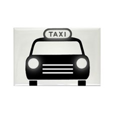 Cartoon Taxi Cab Rectangle Magnet (10 pack)