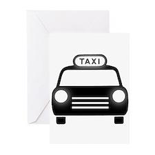 Cartoon Taxi Cab Greeting Cards (Pk of 20)