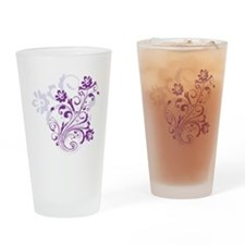 pretty modern purple swirl floral Drinking Glass