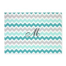 Teal Grey Chevron Monogram 5'x7'Area Rug