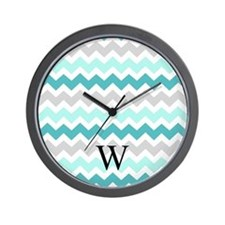 Teal Grey Chevron Monogram Wall Clock
