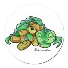 Sleepy Teddy Bear Dragon Round Car Magnet