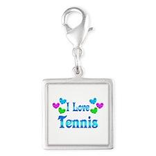 I Love Tennis Silver Square Charm