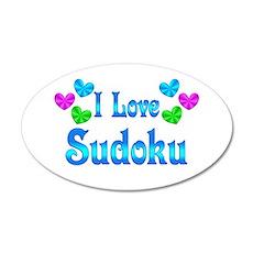 I Love Sudoku 20x12 Oval Wall Decal