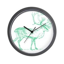 Green Caribou Wall Clock