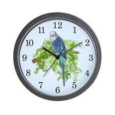 Blue Budgie on Green Wall Clock