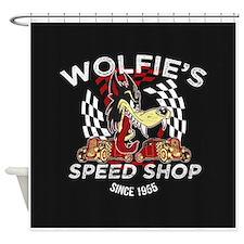 Wolfies Speed Shop Black Shower Curtain