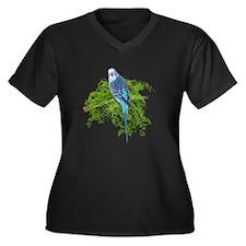 Blue Budgie on Green Women's Plus Size V-Neck Dark
