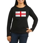 England English Flag Women's Black Sleeved T-Shirt