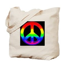 WATERCOLOR RAINBOW PEACE SIGN Tote Bag