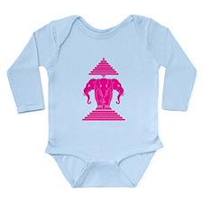 Pink 3 Headed Elephant Long Sleeve Infant Bodysuit