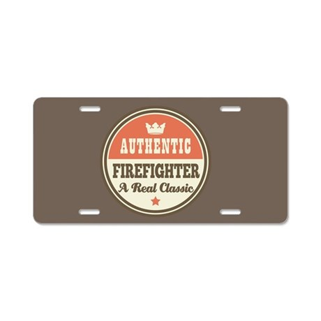 Authentic Firefighter Aluminum License Plate