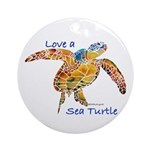 LOVE A SEATurtle Ornament (Round)