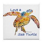LOVE A SEATurtle Tile Coaster