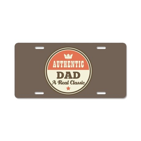 Authentic Dad Aluminum License Plate