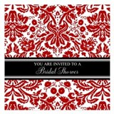 Red black and white invitations 5.25 x 5.25 Flat Cards