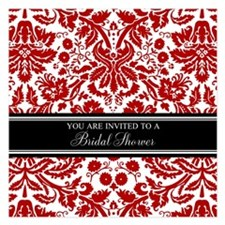 Red Damask Bridal Shower Invitations
