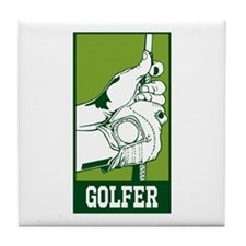 Personalized Golfer Tile Coaster