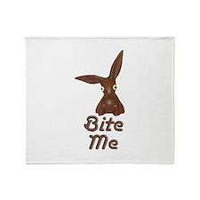 Bite Me Easter Chocolate Bunny Throw Blanket