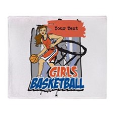 Personalized Girls Basketball Throw Blanket