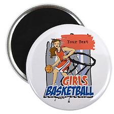 "Personalized Girls Basketball 2.25"" Magnet (100 pa"
