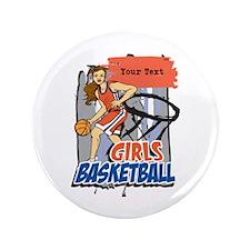"Personalized Girls Basketball 3.5"" Button"