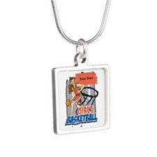Personalized Girls Basketball Silver Square Neckla