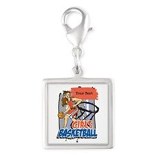 Personalized Girls Basketball Silver Square Charm
