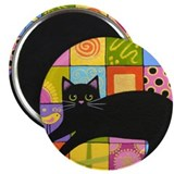 Black CAT On ART Quilt Folk Art Magnet