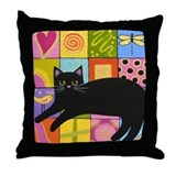 Black CAT On ART Quilt Throw Pillow