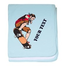 Personalized Skateboarder baby blanket